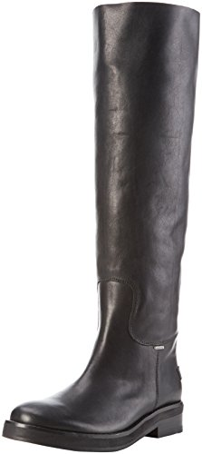 Shabbies Amsterdam - Shabbies 3,5cm Heel Sole Black 45cm High Boot Farah, Stivali alti con imbottitura leggera Donna Nero (Nero (nero))