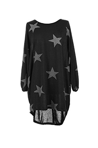 Le Donne D'estate In Star Impronta Camicia Lunga Mini Vestito Black