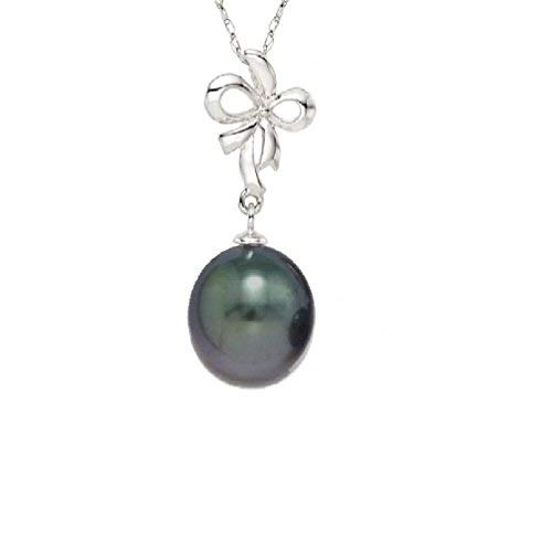 b9d52d804 Pearlyta Women's Sterling Silver 925 Cultured Freshwater Pearl 10-11mm Bow  Pendant Necklace - Dyed
