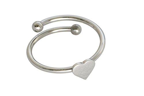 Damen Ring aus versilberten Edelstahl mit romantischem Herz für alle Fingergrößen. Passt sofort und für immer. Handmade in Spain (Herz Casual)