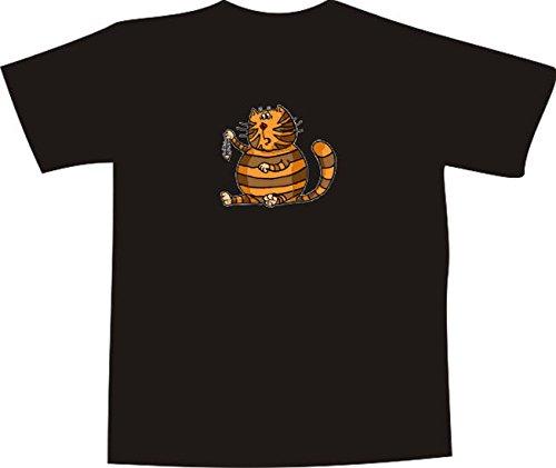 T-Shirt E962 Schönes T-Shirt mit farbigem Brustaufdruck - Logo / Grafik - Comic Design - dicke lustige Katze mit Fischgräte Weiß