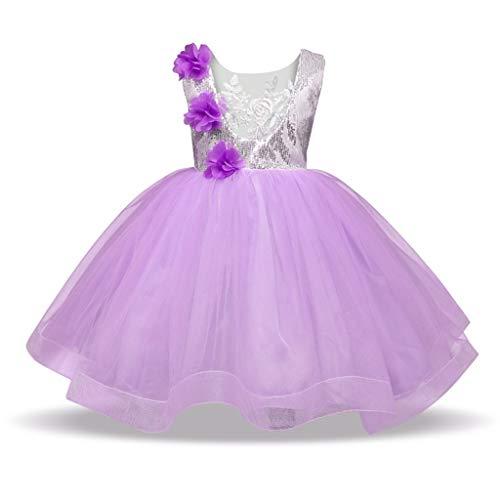 bestshope Kinder Kinder Mädchen ärmellose Pailletten-Blumen-Hochzeitsfest-Prinzessin -