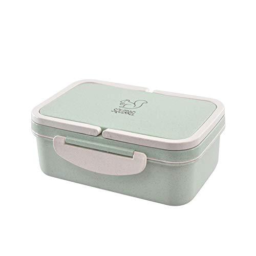 Zorux - Lunchbox Weizenstroh Cartoon Bentobox Tragbare umweltfreundliche Lebensmittel Vorratsbehälter für Kinder Studenten der Schule Microwavable [Grüne]