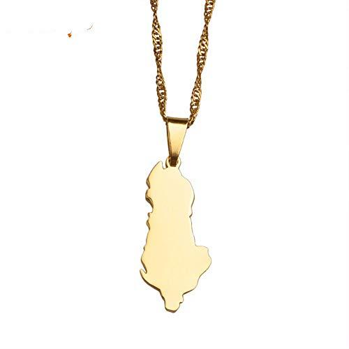 NSXLSCL Halsketten Für Frauen,Mode Albanien Karte Anhänger & Ketten Farbe Gold Charm Schmuck Für Frauen Girlsfor