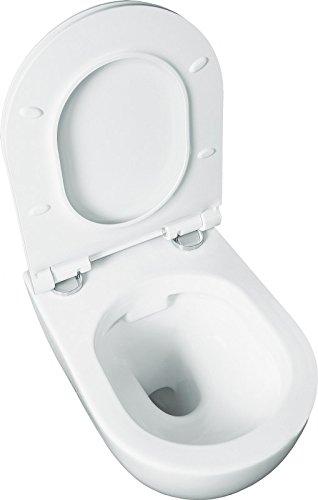 WC-Sitz mit Soft-Close-Absenkautomatik Wand WC ohne Sp/ülrand Dr/ückerplatte chrom All-In-One-Set V3: Lavita Vorwandelement inkl