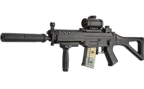 M82 AEG Elektrisches Gewehr in Schwarz, 40 Runden, max. 0.5 Joules, einstellbarer HOP UP, Komplettset , Qualität Softair Gewher, GRATIS 2000 BULLDOG BBS 0.20G ()