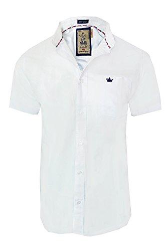 Herren Brave Soul Senats Kurzärmeliges Hemd Baumwolle Oxford Kragen Geknöpft Top Weiß
