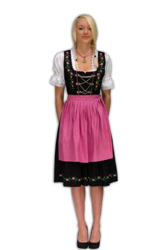 Preisvergleich Produktbild Zoelibat 47024642.510.38 - Dirndl Set,  3-teilig - Trachtenkleid Bluse und Schürze,  Größe S (38),  schwarz / pink / grün
