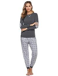 Hawiton Damen Schlafanzug Lang Zweiteilige Winter Pyjama Set Sleepwear Baumwolle mit Gepunkte Hose