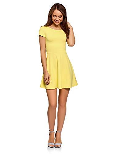 oodji Ultra Damen Tailliertes Kleid mit V-Ausschnitt am Rücken, Gelb, DE 34 / EU 36 / XS