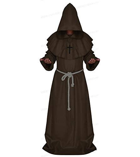 Oneforus Herren mittelalterlichen Mönch Mönch Renaissance Priester Robe Cape Umhang Halloween Dekoration - Renaissance Mönch Kostüm