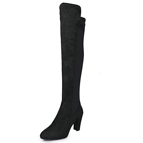 Frauen üBer Die Knie Schuhe Winter Slip-On Verklebte Leder Grobe Ferse Nubukleder Wildleder Leder Oberschenkel Hohe Stiefel