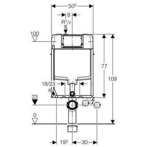 Rack Geberit Kombifix mit seidglanz 8cm (Sigma UP720), Höhe 109cm