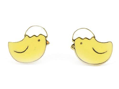 Monkimau 750 Gold plattierte Küken Ohrringe Kinder-Schmuck Damen Frauen Mädchen-Ohrstecker Geschenke (Küken Ei auf Kopf) (Für Gold Earing Babys)