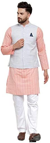 Neudis By Dhrohar Cotton Kurta Pajama With Nehru Jacket Set For Men - Size - 38 - Orange