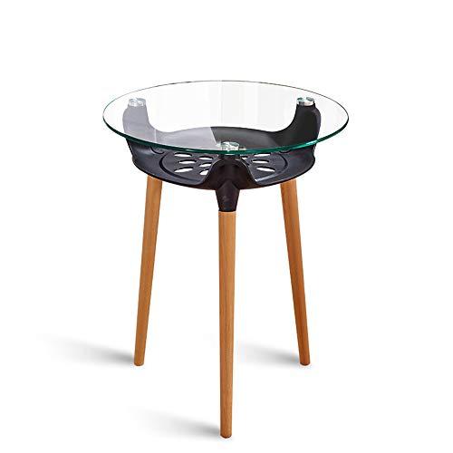 Verstellbarer Runder Café Tisch (JKL- Notebookständer Glas-runder Tisch-Balkon-Familien-Verwendungs-Verhandlungs-Tabellen-Tee-Geschäft-Café-Holztisch 7 Farben (Color : A))