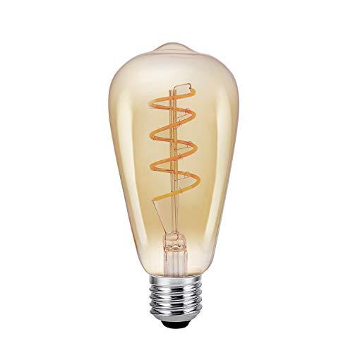 LED Vintage Leuchtmittel, E27Schraube Flexible Filament Edison Glühlampen, 4W (entspricht 40W) dimmbar 2000K, Warm Weiß Retro Altmodisch Deko Leuchtmittel 220-240V (φ64mm), st64-flexible