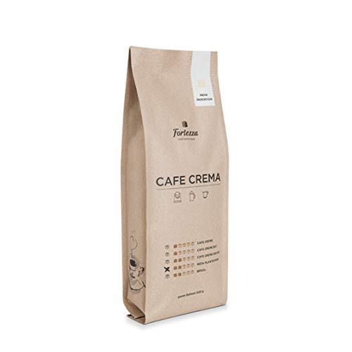 Fortezza Cafe Crema India Plantation | 500g gemahlener Kaffee für Filtermaschinen | GOLD-Medaille Deutsche Röstergilde | kräftig-würziger Cafe Creme | Premium-Kaffee in bester Qualität | Säurearm
