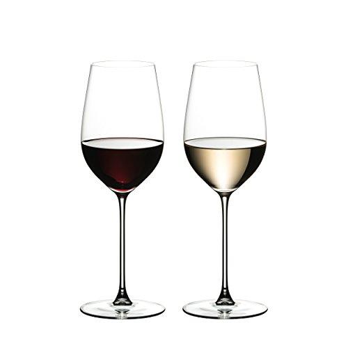 RIEDEL Weinglas-Set, 2-teilig, Für Weißweine und Rotweine, 395 ml, Kristallglas, RIEDEL Veritas,...