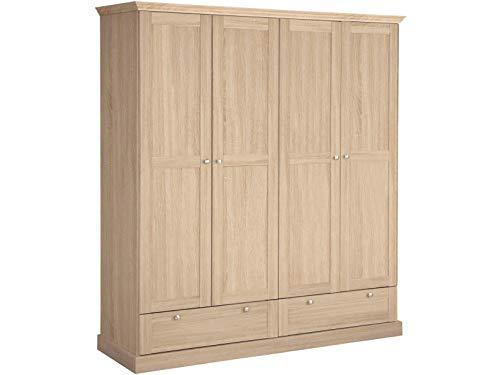 2-türig/4 Schublade (Loft 24 A/S Kleiderschrank groß mit Kleiderstangen Drehtürenschrank Schlafzimmermöbel Landhausstil MDF 2 Schubladen (Eichefarben, 4-türig, 161 x 55 x 180 cm))