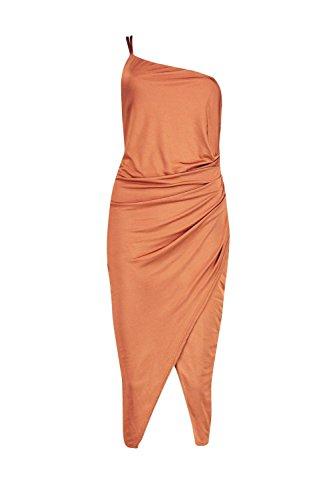 Bronze Damen Loren One Shoulder Rouched Midi Dress Bronze