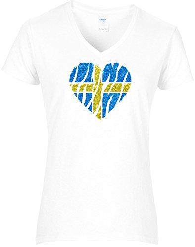 Elegantes Damen WM Shirt Schweden Fussball Glitzeraufdruck Herz Sweden 2018, T-Shirt, Grösse M, Weiß