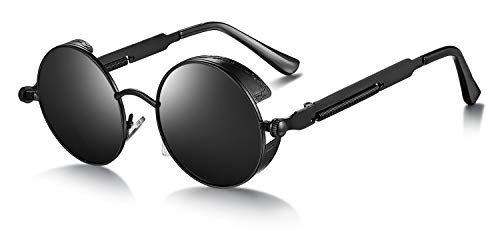 WHCREAT Retro Rund Polarisierte Sonnenbrille UV400 Schutz Steampunk Stil Brillen - Schwarzer Rahmen Schwarze Linse