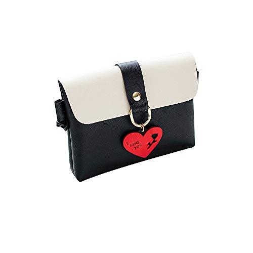 Bfmyxgs Fashion Messenger Bags für Frauen Mädchen PU Solide Hasp-Verschluss Soft Back Flap mit Stilvolle Pure Color Leder Schultertasche Brusttasche Kleine runde Schnalle mit quadratischer Handytasche -