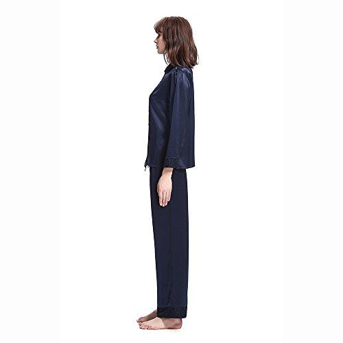 LilySilk Set Pigiama Donna Lungo e Elegante Di Pizzo In 22 Momme Pura Seta Blu marino