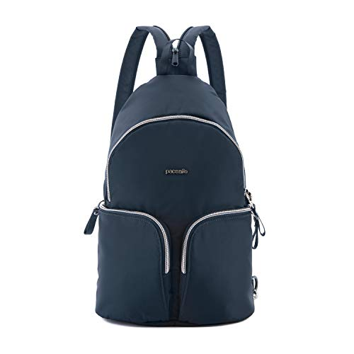 Pacsafe Stylesafe Sling Backpack, schlanker Rucksack für Damen, Zwei- und EIN- Riemen Schulterrucksack, Daypack mit Diebstahlschutz, Sicherheits-Features - 6 Liter, Uni, Navy/Blau