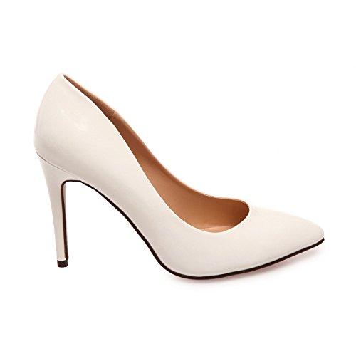 La Modeuse - Escarpins stilettos vernis à bout pointu Blanc