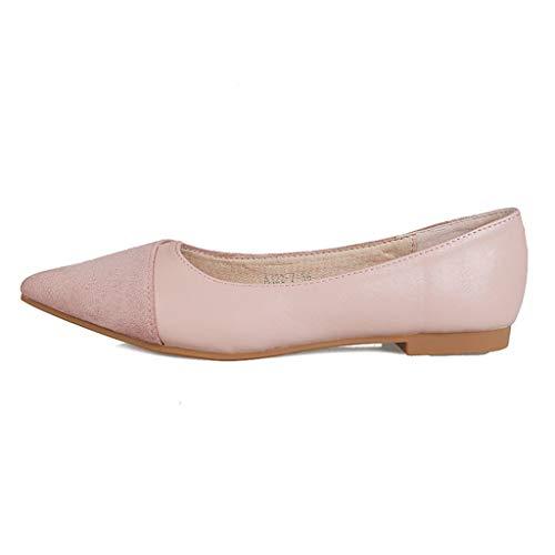 Damenschuhe, Casual Flache Schuhe Spitzen flachen Mund einzelne Schuhe weichen Boden Scoop Schuhe Fee Abendschuhe,A,39 Scoop Boden