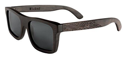 Preisvergleich Produktbild Gravierte Holz Sonnenbrille aus hochwertigem Ebenholz im MAORI DESIGN - Wicked Ares inklusive faltbarem Flip Case Etui und mit schwarz getönten Gläsern - für Damen und Herren