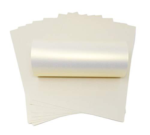 Syntego 10 Blatt elfenbeinfarben Ice Gold Haze Perlglanz-schimmernd doppelseitig A4 Dekokarton 300 g/m² -