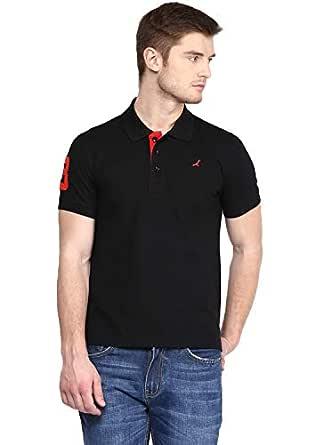 AMERICAN CREW Men's Half Sleeve Black Solid T-Shirt with No.3 Applique - S (AC021B-S)