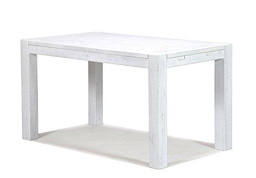 Esstisch Rio Bonito 140x80cm, Pinie Shabby White, Massivholztisch Weiss, Vintage Used- Look für Esszimmer Wohnzimmer Büro oder Küche