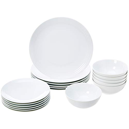AmazonBasics 18-Piece Dinnerware Set - White Embossed Porcelain