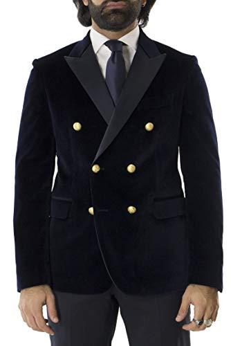 00f1311af892e Brian Dales Giacca Invernale Elegante da Uomo in Velluto Liscio Modello  Doppiopetto con Bottone Oro con
