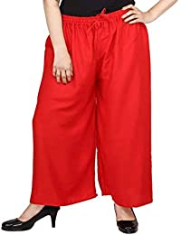 SGL-Zoya_Women's Rayon Plazo_RED # 06_PLUS SIZE (Fits 3XL To 5XL) -Superb Quality_Skin Friendly_Bubble Free_ V-Cut...
