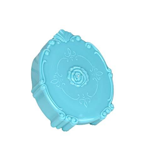 FiedFikt Mini-Reise-Kontaktlinsen-Etui aus Kunststoff, tragbar für Mädchen, Heimreise, Taschengröße, einfach zu tragen blau