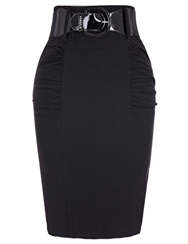 Kate Kasin Women's Bodycon Skirt Shirred Elastic Pencil Skirt with Wide Belt KK271