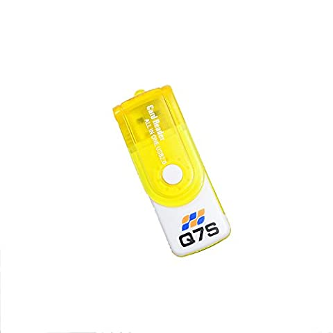 Q7S All in One USB Memory card reader for almost all types of Memory cards (Yellow)