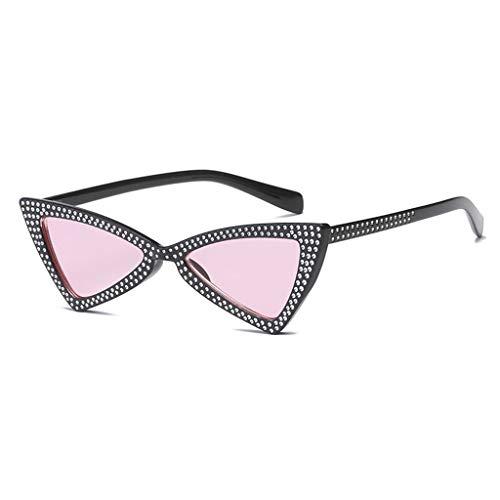 MWPO Sonnenbrille Katzenauge Dreieck Gezeitenstrom männliche und weibliche Persönlichkeit Straßenfotografie Reise Anti-UV komfortable leichte Brille (Farbe: schwarzer Rahmen rosa Linse)