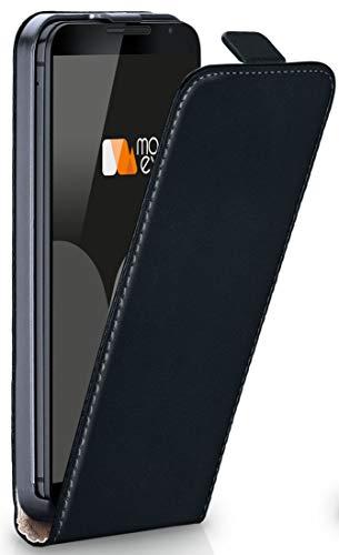 moex Nexus 6 | Hülle Schwarz 360° Klapp-Hülle Etui Thin Handytasche Dünn Handyhülle für Motorola Google Nexus 6 Case Flip Cover Schutzhülle Kunst-Leder Tasche
