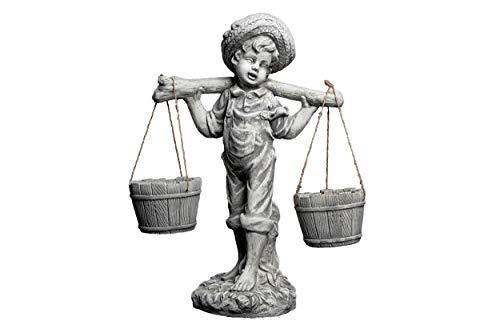 gartendekoparadies.de Massive Steinfigur Junge mit Blumenampel bepflanzbar aus Steinguss frostfest