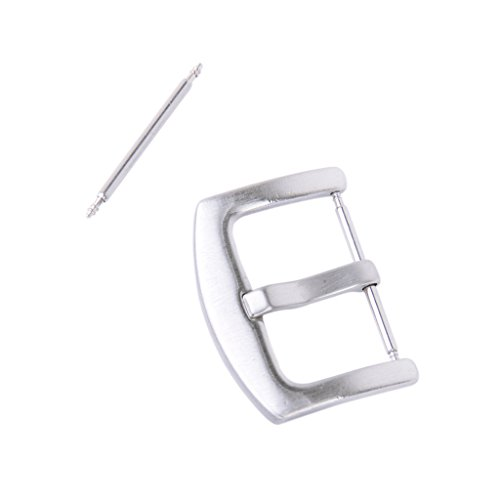 20mm Solid Steel Watch Tongue Band Strap Pin Buckle Clasp With Spring Bar
