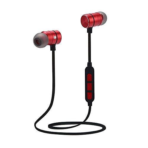 Yigatech Bluetooth Kopfhörer In Ear Sport V4.2, Schweißresistent Stereo magnetischer Sport Ohrhörer, eingebautes Mikrofon für iPhone, Huawei usw. (Rot) -