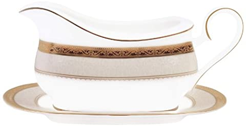 Noritake Odessa 2-Piece Gravy Boat with Stand,