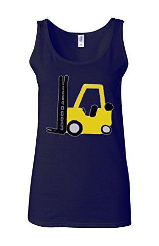 Forklift Truck Driver Funny Novelty White Femme Women Tricot de Corps Tank Top Vest Bleu Foncé
