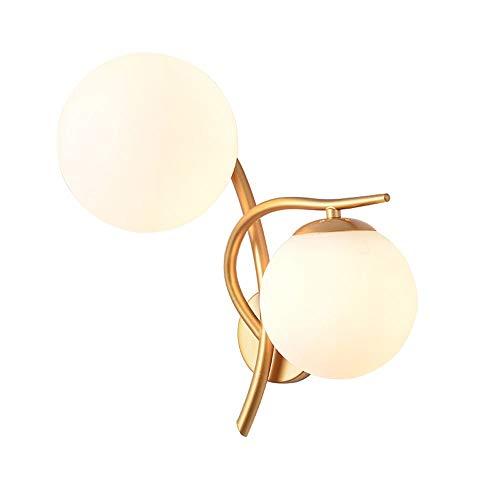Zeitgenössische Kreative Doppelkopf Glas Wandleuchte Moderne Einfache E27 Edison Metall Wandbeleuchtung Wohnzimmer Schlafzimmer Cafe Wandleuchte Lampe (Farbe: Silber) - Hampton Deckenventilatoren